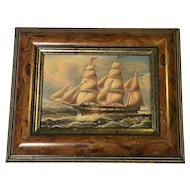 Small Painting of a 3 Masted Ship in Burrwood Frame - Amsterdam