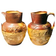 2 Royal Doulton Lambeth Salt Glazed Jugs Pitchers - Made in England - Dogs, Deer, Horse, Hunt
