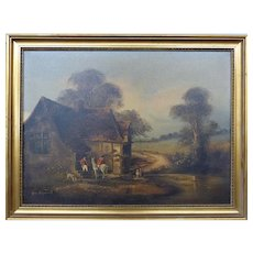 John Horsewell English Original Painting on Canvas - Man on Horseback Visiting - Direct from England