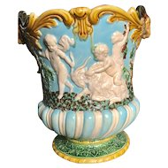Minton Majolica Wine Cooler with Rams Head and Revelers -