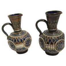 Pair of Beautiful Royal Doulton Lambeth Stoneware Jugs - Made in England - Markers Mark
