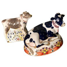 2 Royal Crown Derby English China - Friesian Cow Buttercup & Bluebell Calf
