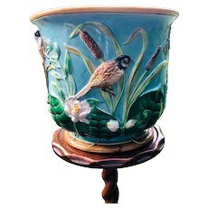 George Jones Majolica Bird and Pond Lily Jardiniere