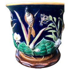 George Jones Majolica Bird and Pond Lily Jardiniere - From England - Large Planter