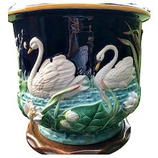 George Jones Majolica Swan Jardiniere - From England - Large Planter
