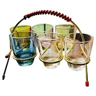 Retro Set of 6 shot colored glasses - Made in France