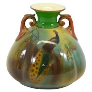 Royal Worcester Hadley Peacock Vase , circa 1910 - Made in England