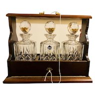 3 Edinburgh Crystal Decanters in an English Tantalus - Made in England