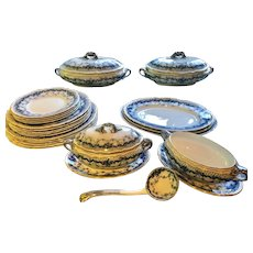 LARGE collection of Booth Flow Blue Ware Gilt Scallop Edges - Alexandra Pattern - England