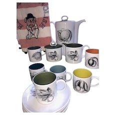 Vintage Wedgwood Susie Cooper Bone China Harlequin Fruit Coffee Set - Made in England RARE