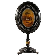 Beautiful Papier Mache Mother Of Pearl & Gilded Oval Scalloped Tilt Top Table