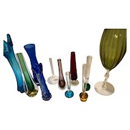 10 Glass Bud Vases - Colorful