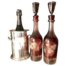 Stunning Pair Etched Cranberry Glass Decanters -
