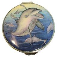 Limited Edition Moorcroft Enamel Pot - Dolphin Traveller- 02/50 England