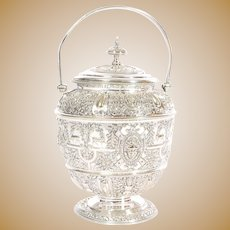 Stunning James Dixon Silver-plate biscuit barrel with handle from England - Hallmarked