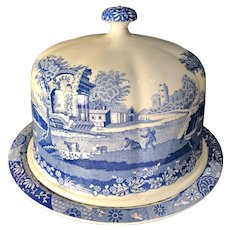 Blue and White Spode English Italian Design Dome Cake Cover and Plate