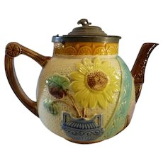 George Jones Majolica Sunflower Teapot with Pewter Lid