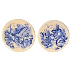 Pair of H & R Johnson Blue & White Tiles Village Scene - Round - Made In England