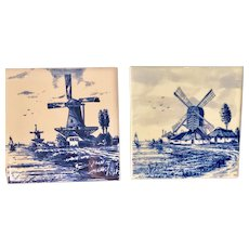 Pair of Mettlach Blue & White Tiles Windmills -