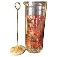Wonderful Vintage Glass Beaker Mixer with Horlicks Recipe & Plunger - England