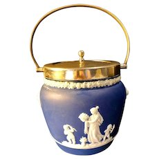 Beautiful Blue Jasperware Covered Bucket Barrel Lions, Cherubs, Goddess - Fully Marked Wedgwood