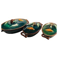 Wonderful Vintage Set of 4 Tellurite Belgium Majolica Casserole Dishes with Lids - Vegetable Dishes