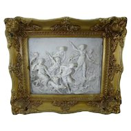 French 19th c Plaque w/ Goddesses & dogs in Gilt Gesso Frame - England
