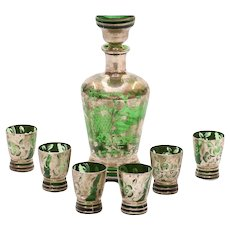 Silvered & Flash Overlaid Green Glass Decanter w 6 Small glasses