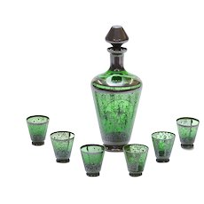 Green Glass Decanter Venetian Style with 6 Small Glasses - Etched