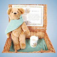 Jointed Artist Mohair Teddy Bear w/ Picnic Basket, Cup & Cloth