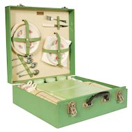 Vintage 20th Century Green Cased Brexton Picnic Set - Beautiful condition