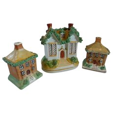 3 Staffordshire Banks / Money Boxes, Manor Houses with Moss - Made in England -c 1878