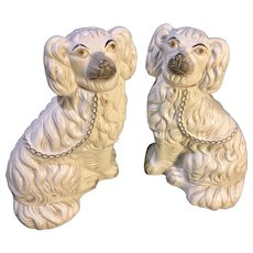 Pair of Medium Sized White Staffordshire Dogs - Made in England