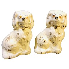 Small Pair of Staffordshire Dogs - White - Made in England