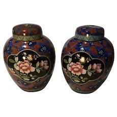 Pair of Large Ginger Jars Made by Leighton Pottery - Jap Pattern- Made in England