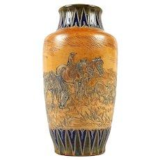 Royal Doulton Stoneware Hannah Barlow Vase - Farmer, Horses, Sheep