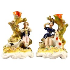 Pair of Staffordshire Flower Encrusted Spill Vase - Girl w Lamb & Boy w Dog - Made in England