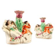 Pair of Staffordshire Vase Groups of 2 Sleeping Girls - Made in England c. 1865