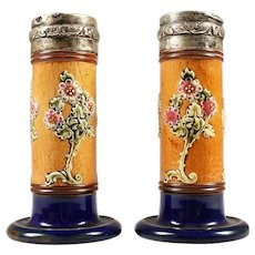 Pair of Royal Doulton Stoneware Spill Vases with Silver Tops - Hallmarked - Made in England c 1903