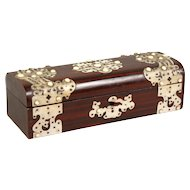 Victorian Rosewood Stained and Faux Ivory Glove Box - English