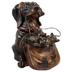 Vintage Bronze Inkwell of Dog holding a Bag of Puppies