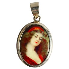 Vintage Sterling Silver Pendant of Young Girl