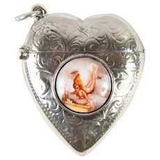 Wonderful Sterling Silver Vesta of Swimmer, Fish in Water - English