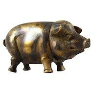 Vintage Brass Pig Vesta - English
