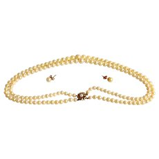 Double Strand of Pearls w 9ct Gold Clasp and Matching Earrings