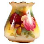 Beautiful Royal Worcester Hand Painted & Signed Hadley Roses Vase Signed by M. Hunt