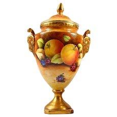 Coalport Bone China Lidded Urn/Vase Fruit -  Painted by Owen