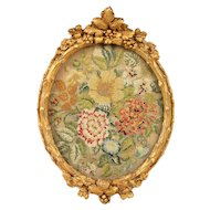 Beautiful Antique Floral Needlepoint in Ornate Gilt Frame - English