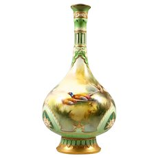 Hadley's Worcester Bottle Vase painted with Pheasants & Birds by W. Powell