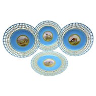 4 Victorian Minton Reticulated Cabinet Plates Hand Painted Sheep & Cattle